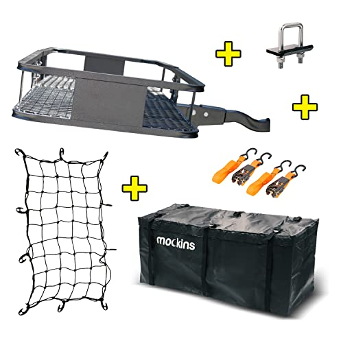 Mockins Steel Cargo Basket   60' L X 20' W X 6' H Hitch Mount Cargo Carrier with Cargo Bag and Net   with a Hauling Weight of 500 lbs & a Folding Arm to Preserve Space When Not in Use