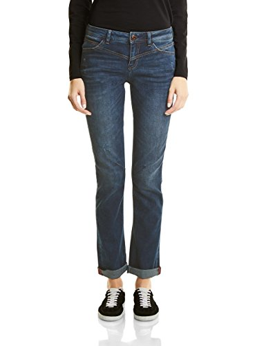 Street One Damen Denim-Kate Straight Jeans, Dark Blue Random Bleach wash, 36W / 32L (Herstellergröße: 27)