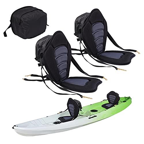 Playinyard Kayak Seat with Back Support, Adjustable Sit on Top Kayak Replacement Seat for Kayaking, Fishing, Boat Rafting (2 Pack)