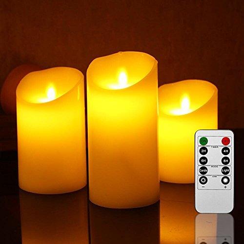 Four Heart LED Kerzen mit 10-Tasten Fernbedienung 3er Set (10/12.5/15cm, je Ø 7.5cm) Flammenlose Kerzen 180 Stunden Realistisch flackernde LED Flammen aus Echtwachs in Elfenbeinfarbe