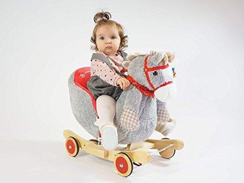 Dunjo® Baby Schaukelpferd Schaukeltier Grau | Ab 1 – 3 Jahre | mit Rollen, Gurt und Musik - 2