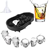 3D 6 holes Skull Flexible Silicone Ice Cube Mold Tray, Makes six Giant Skulls, Round Ice Cube Maker Reusable and BPA Free for Halloween Frozen Party Home Candy chocolate Mold (18.2X12.7X4cm, black)