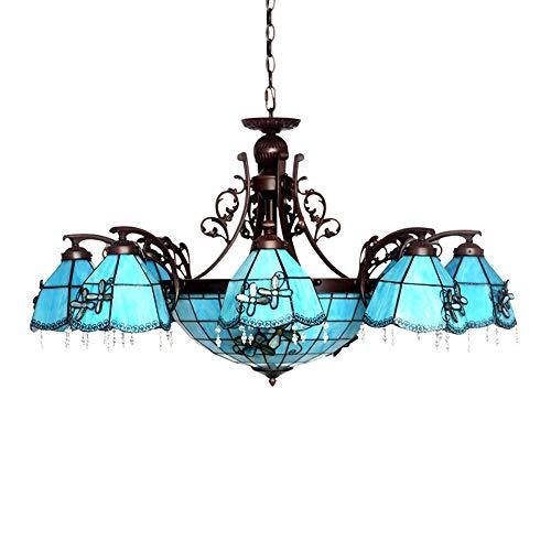 Blauer Kronleuchter im mediterranen Stil, LED-Kronleuchter aus Glas, dekorativer Kronleuchter (100 x 58 cm) für das Esszimmer im Arbeitszimmer-Under