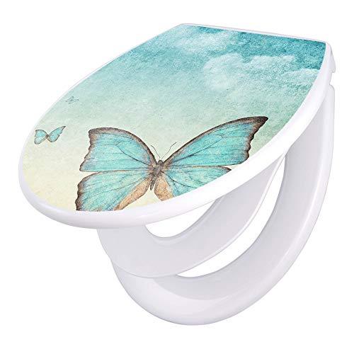 banjado Familien WC Sitz mit Absenkautomatik | Toilettendeckel mit Kindersitz | Klodeckel weiß | Toilettensitz mit Soft Close | 44 x 37 cm WC Deckel mit Motiv Blaue Schmetterlinge