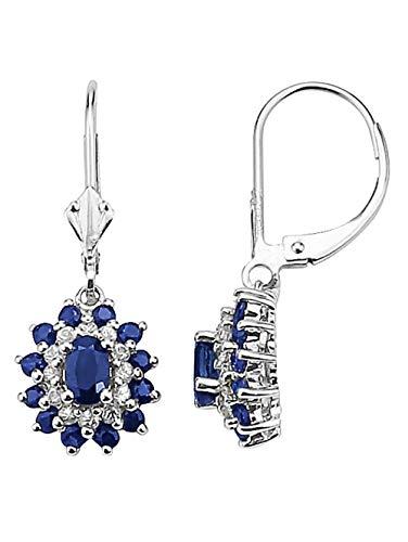 Diemer Farbstein Ohrringe mit Saphiren Blau