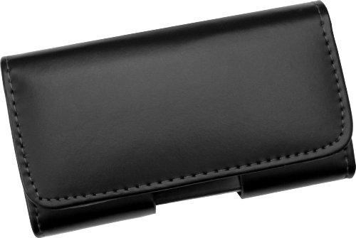 AQ Mobile Funda Cinturón Horizontal para Móviles y Smartphones - Talla XXL (Dentro: 160 x 80 x 12 mm), Piel, Nero, Pinza de cinturón, Cierre magnético