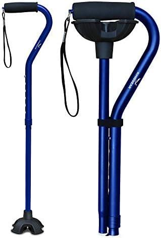 KingGear Adjustable Cane for Men & Women - Lightweight & Sturdy Offset Walking Stick - w/Additional Big Tip - Mobility Aid for Elderly, Seniors & Handicap (Pink)