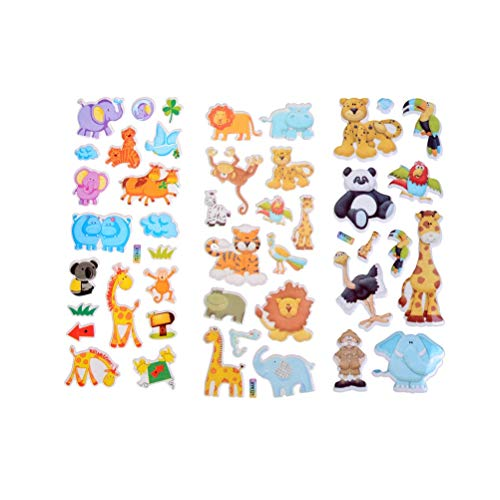 7.2 * 17cm Cartoon Animals Zoo 3D Stickers Children Girls Boys PVC Stickers Kids Toys
