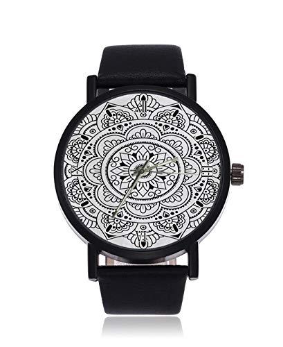 Henna Tatoo Mandala Mode Damen Armbanduhr Quarz Edelstahl Lederband Casual Uhr