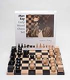 K&M Classics, Man Ray, Design Schachspiel, Figuren mit Spielbrett, hochwertig, Buchenholz furniert, Made in Germany, 40x40x2,5 cm, schwarz, braun, 18048
