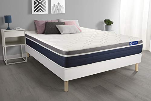 Ensemble ACTIMEMO Confort Matelas mémoire de Forme 140x190 cm Maxi épaisseur 7zones de Confort + sommier KIT Blanc - Epaisseur : 26 cm - Confort : Mi-Ferme