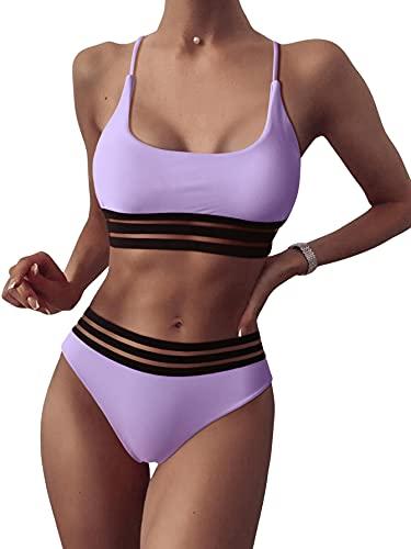 SOLY HUX Damen Bikini Set mit Mesh 2-Teile Bademode Badeanzug Strandmode Hohe Taille Bikinis Lila XS