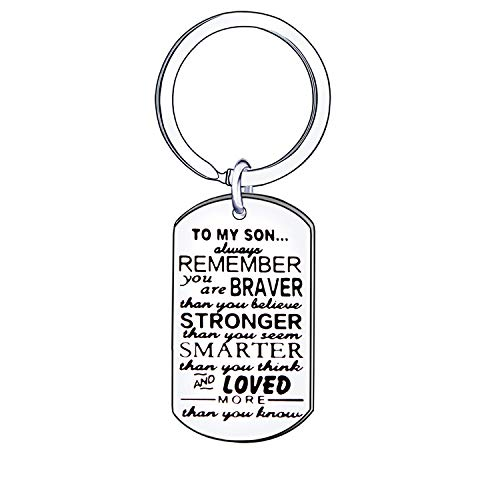 AIMINI Inspirational Keyring Keychain Key Rings Birthday Gift Present for Son Boys Children Kids Family Jewellery