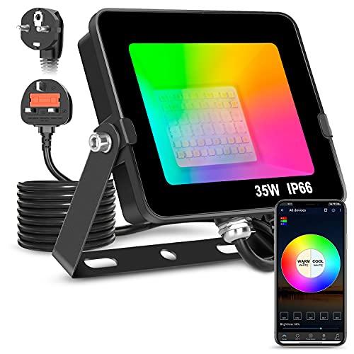 LED Strahler 35W Smart RGB Farbwechsel Flutlichter Bluetooth APP Control IP66 Wasserdichtes dimmbares Atmosphärenlicht für dekorative Bühne Landschaft Garten Baum scheinwerfer EU 2 pin plug(1 Packung)