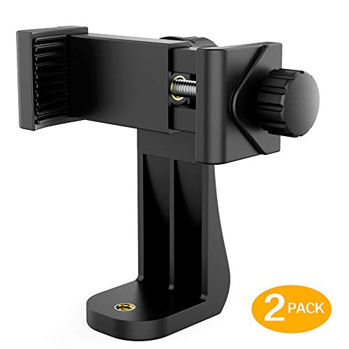 Universal Phone Tripod Mount (2 Pack) 1/4' Screw Adapter Cell Phone Holder with Adjustable Clamp Compatible with iPhone, Samsung, and All Phones, Camcorder,Selfie Monopod and More.