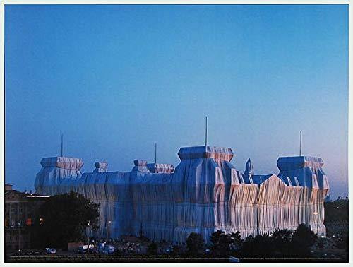 Art-Galerie Bild mit Rahmen Christo and Jeanne-Claude - Reichstag Ost-und Nordfassade in Abenddämmerung (Foto von W. Volz) - Aluminium Silber matt - 40 x 30cm - Premiumqualität - Made in Germany