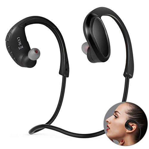 Headset Bluetooth Sport 4.2 inbouwdiepte 8 GB geheugenstorage headset draadloze Bluetooth draadloze microfoon MP3-speler voor sport, hardlopen, fitnessstudio, joggen, training (zwart)