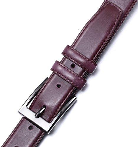 Marino's Men Genuine Leather Dress Belt with Single Prong Buckle – Burgundy – 40 (Waist: 38)