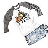 MYHALF It's Fall Y'all Shirts Women Funny Pumpkin Graphic Tee Tops 3/4 Sleeve Fall Raglan Tee Gray