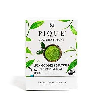 Pique Tea Organic Sun Goddess Matcha Green Tea - Organic Ceremonial Grade - Energy Immune Support Radiant Skin - 1 Pack  28 Sticks