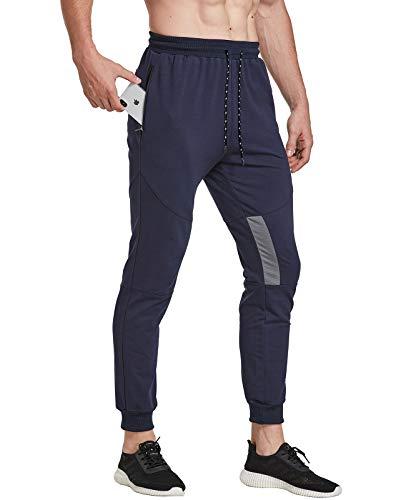 FEDTOSING Pantalones de deporte para hombre, de algodón, ajustados azul marino M