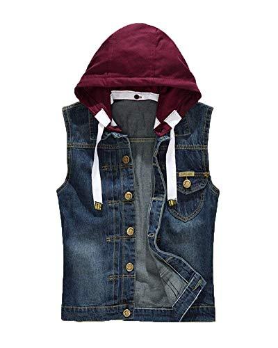 Herren Jeansweste Rmellose Schlanke Modernas Jeansjacke Jacke Mit Lässig Kapuze Herren Jeans Denim Weste Freizeit Zerrissene Denim Weste (Color : Blau, Size : L)