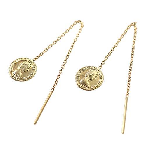 [Barzaz(バルザス)] 18金 ピアス レディース コイン K18 イエローゴールド チェーン ロング 18K 薄型