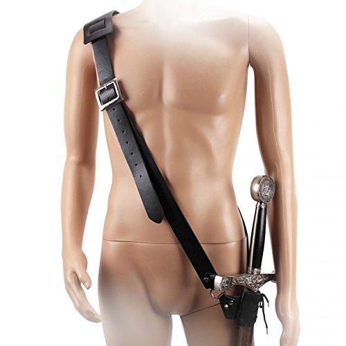 Adjustable Leather Belt with Sword Frog