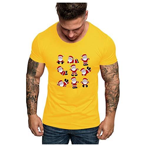 Camicia Uomo Natale Stampato Xmas Reindeer Buon Natale novità,Originale Camicia Elegante Natale Camicia da Uomo a Manica Lunga Camicetta Maglietta Top Maglie Autunno Inverno Felpe Pullover T-Shirt