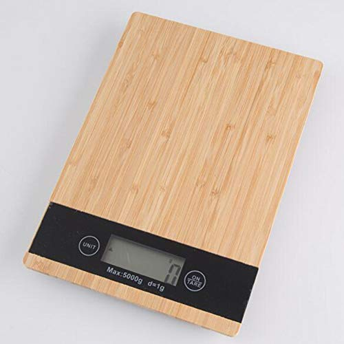 GGKLY Hout Bamboe Digitale Keukenweegschaal, Voedselschaal met LCD-scherm, HD Lcd Display Digitale Schaal, Auto Off, voor Koken Bakken Meal Prep