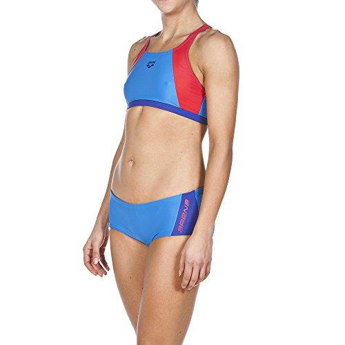 ARENA Damen Sport Bikini Drom, Pix Blue/Danube Blue/Red, 36