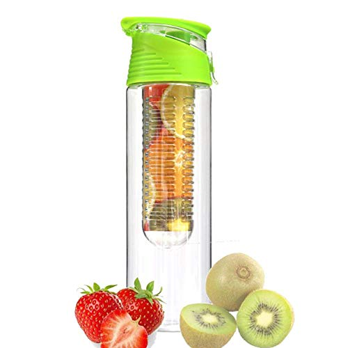 ASDFG Bpa-Free Fruit Injector Water Fles Sap Blender Sport Lemonade Fles Fitness Sport Meisje Fruit Drinkfles, Groen 800Ml