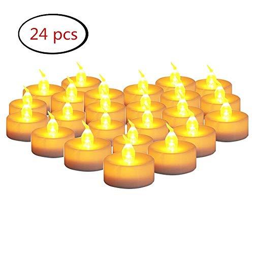 Velas LED que parpadean amarillas, velas electrónicas sin llama del té FABSELLER Velas plásticas con las baterías para la decoración, festivales, boda (24Pcs)