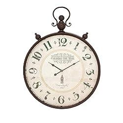Deco 79 92259 Rustic Cherish the Time Round Analog Metal Wall Clock, 31 x 23