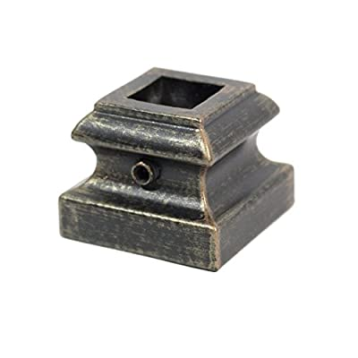 """Iron Baluster Shoes - Flat Shoes with Screw - for Use with 1/2"""" Square Balusters - Set of 10 (SH900 Oil-Rubbed Bronze)"""