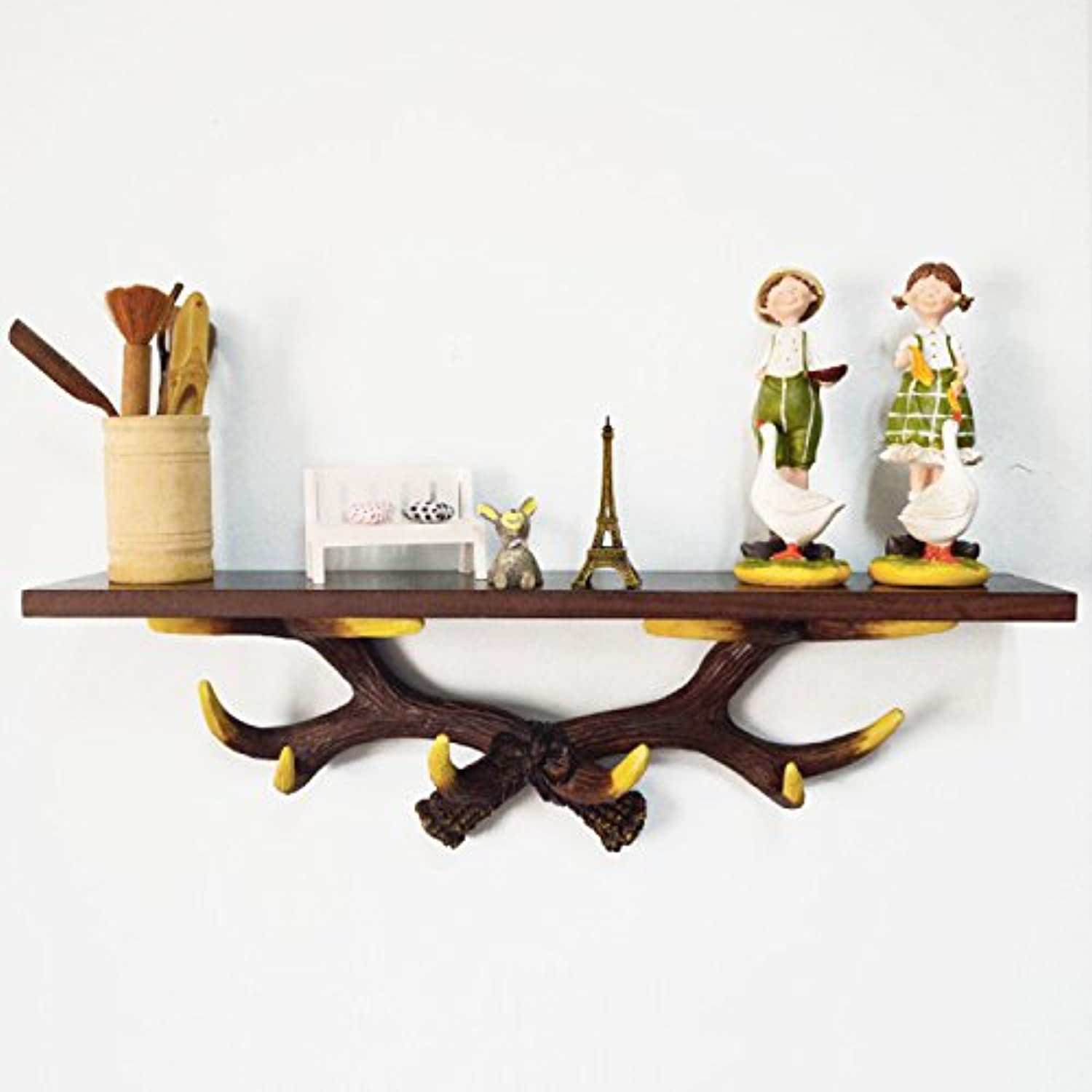 LIAN Rack European-Style Antler Wall Mounted Resin Shelf for Kitchen Bathroom Bathroom Storage Shelf Wall Decoration, 23.6  4.7  6.7 inch (color   Brown)