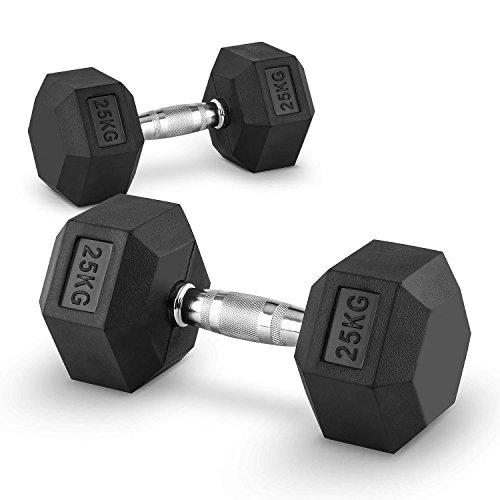 Capital Sports Hexbell Mancuernas gimnasio - Pesas de mano corta, 25 kg...
