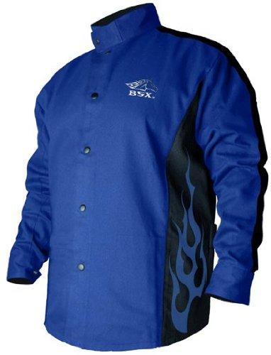"""Revco BXRB9C-XL Welding Jacket, 9 oz. Flame Resistant Cotton Body, 30"""", X-Large, Blue"""