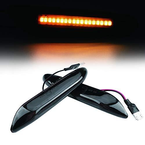 Qiilu LED intermitentes páginas negro Smoke Juego de Intermitentes Laterales 2 piezas E90 E91 E92 E39 E60 E61 E46 E83 E81