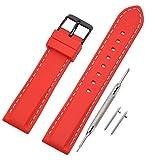 Vinband Correa Reloj Quick Release Recambios Correa Relojes Caucho - 18mm, 20mm, 22mm, 24mm Silicona Correa Reloj con Hebilla de Acero Inoxidable Cepillado (22mm, Red)