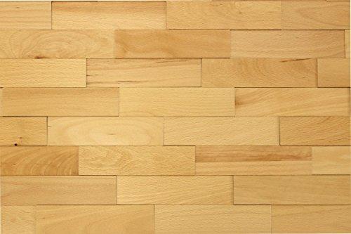 wodewa Wandverkleidung Holz 3D Optik Buche 1m² Wandpaneele Moderne Wanddekoration Holzverkleidung Holzwand Wohnzimmer Küche Schlafzimmer Geölt