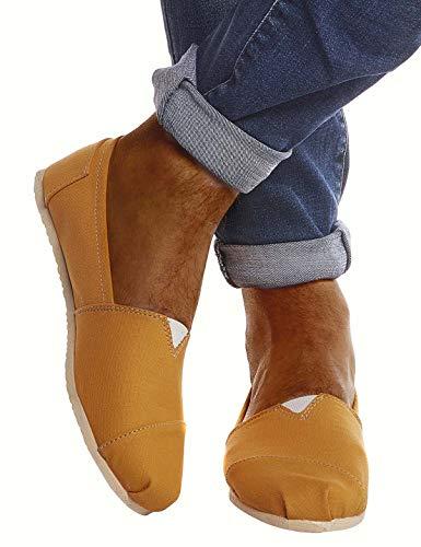 Leif Nelson Herren Espadrilles Gestreifte Schuhe für Freizeit Urlaub Freizeitschuhe für Sommer Flache Männer Sommerschuhe Sneaker Weiße Schuhe für Jungen Slipper LN101S; 40, Gelb