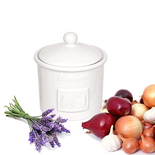 BigDean Zwiebeltopf Toskana Weiß aus Steingut Vorratsdose Zwiebel Vorratsbehälter mit Belüftung 17 x 15 cm