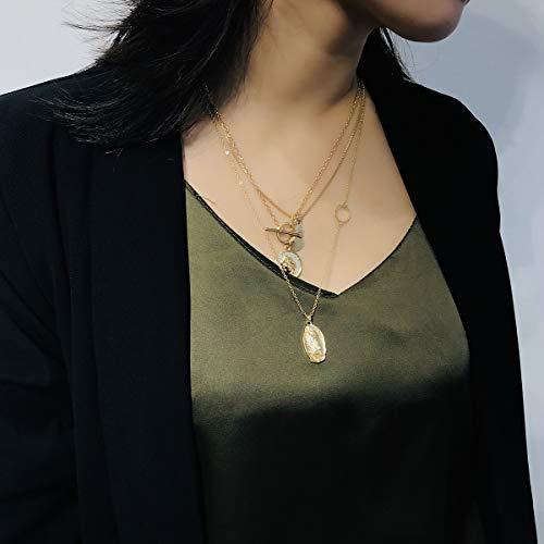 nobrand Retro Facebook mehrschichtige Anhänger Halskette weibliche einfache Körperkette