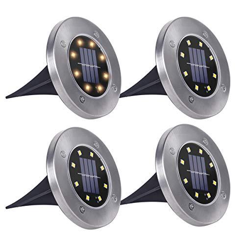 SanGlory 4 Pezzi Luci Solari Giardino 8 LED Luce 100 LM, Faretti LED da Giardino Solari 600mAh Batteria Integrata Lampade da Esterno IP65 Impermeabile per Passaggio Aiuola Vialetto (Bianco Caldo)