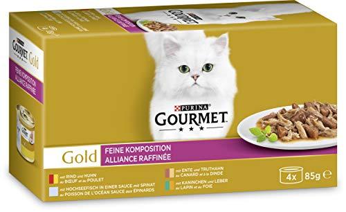 Gourmet Gold chat Doublure Alliance Raffinée - Lot de 12 (12 x 340g) - nourriture pour chats, nourriture pour animaux domestiques de haute qualité pour chats adultes, boîte