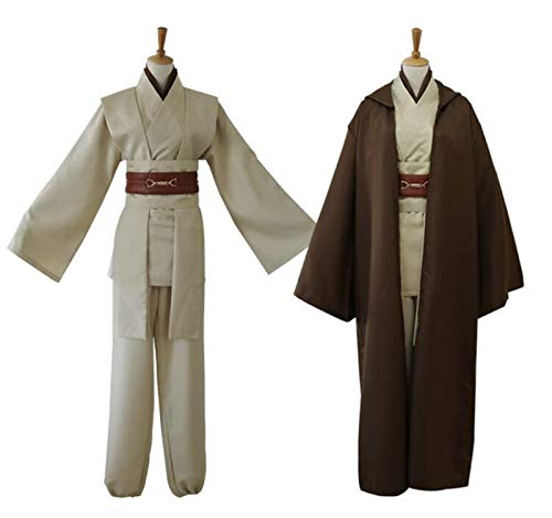 NICERE Disfraz de cosplay de Star Wars Anakin Skywalker réplica Jedi Robe Fantasia Masculino Halloween Cosplay Jedi Disfraz para hombres de talla grande (color: café, tamaño: S)