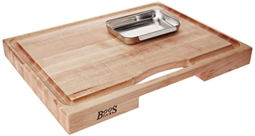 John Boos Block PM2418225-P Newton Prep Master Maple Wood Reversible Cutting Board with Juice Groove and Pan, 24 Inches x 18 Inches x 2.25 Inches