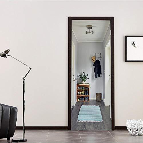 YOYODECOR Decoratieve deursticker van pvc, 3D-kunststof, zelfklevende deursticker aan de deuren, waterdichte sticker, deur, wandfoto, behang,