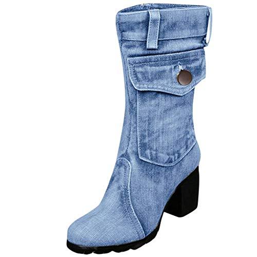 BHYDRY Damen Mid-Rise Rom Solid Größe Slip-On Chunky Med Heels Stiefel Schuhe